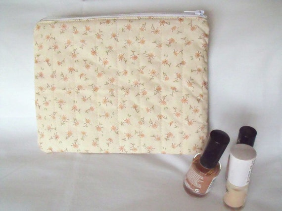 zipped pouch, cosmetic bag, coin purse, pencil case, phone holder, small quilted bag, cream floral cotton fabric