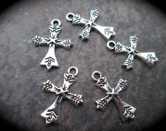 SALE Cross charms package of 5 One inch charms Rosary Charms Religious Charms Adjustable Bangle Charms