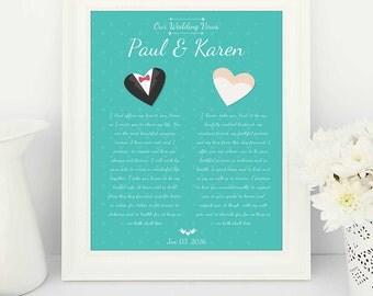 Wedding Vows, Wedding Vows printable, Wedding Vows Print, Teal wedding, wedding teal, 1st anniversary gift, 1st year wedding anniversary