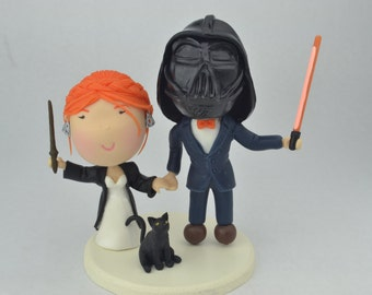 Witch and Sith wedding. Harry Potter/Star Wars cake topper. Wedding figurine.  Handmade. Fully customizable.