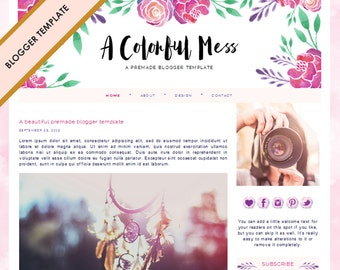 Blogger Template - Premade Blog Design - INSTANT DOWNLOAD - A Colorful Mess Theme