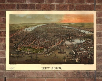 New York City  Vintage Print Poster Map in 1880