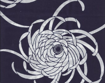 YUKATA Indigo w/ Chrysanthemums Y153 Japanese Vintage Kimono Yard  Cotton Fabric