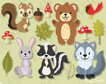 Woodland Forest Animals Clipart - Squirrel, Bear, Rabbit, Skunk, Wolf, Cardinal Bird, Leaf, Mushroom, Bunny, Acorn