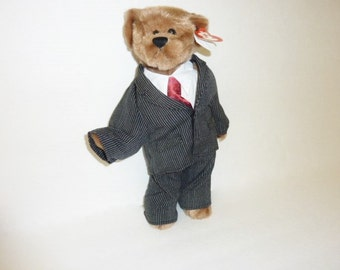 Vintage Large Ty Beanie Babies WILLIAM 1993 Original Ty Beanie Baby Brown Bear Blue Striped Suit Tie Stuffed Animal Plush Toy Collectible