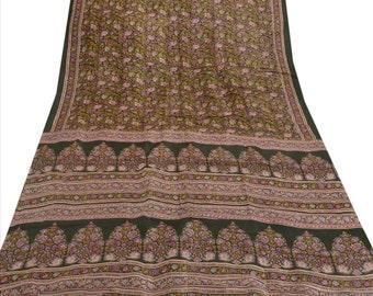 KK Pure Silk Saree Green Printed Sari Craft Fabric 5 Yard