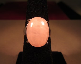 Retro Sterling Silver Pink Quartz Ring - 5.5