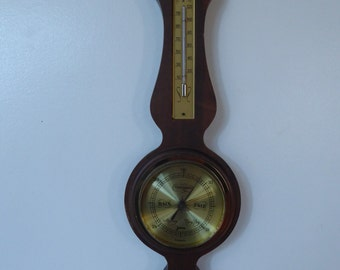 Vintage Germany Hygrometer Barometer Thermometer Station on the Maple-Wood