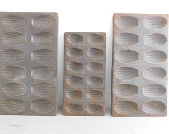 Vintage cake tins  French vintage medeleine tins   Set of 3 metal cake molds   Rustic decor