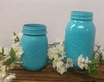 Custom Listing - Turquoise Mason Jar, Wedding Mason, Country Wedding Decor, Blue Mason Jar Centerpiece, Rustic Wedding, Outdoor Wedding