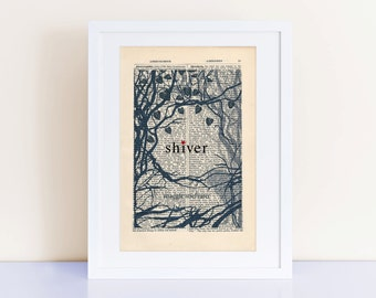 Shiver by Maggie Stiefvater Print on an antique page, Book Cover Art