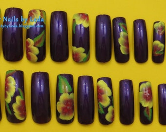 purple press on nail, hand painted nail art, acrylic paint, Yellow flowers, long nails, one stroke flower, alternating nail art, full nails
