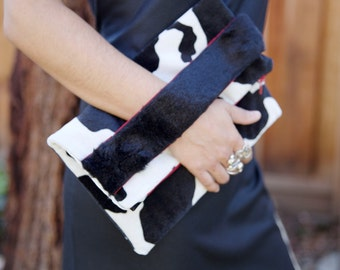 Cow Clutch, Fold over Clutch, Animal Print clutch, Evening bag, Hand strap Clutch.