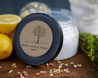 Organic Herbal Scouring Powder - Lemon - Naturally Clean Eco-Friendly Green Cleaning, Great for Scrubbing Sinks and Bathtubs