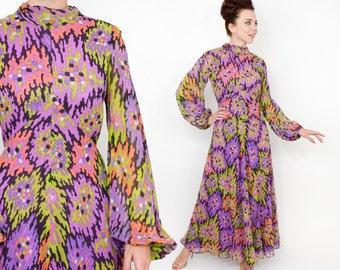 70s Floral Maxi Dress | Lavender Purple Op Art Print Chiffon Dress | Small