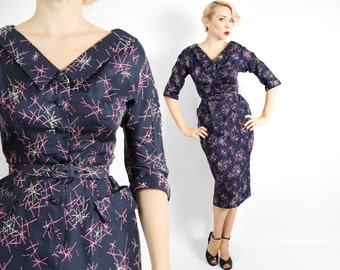 50s Navy Silk Dress | Atomic Print Party Dress | Wiggle Dress | Small