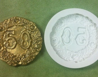 50th Anniversary Plaque Silicone Mold by Susan Carberry Item # 170