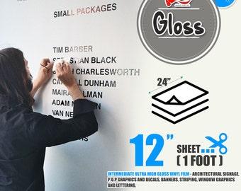 "10 Sheets 24"" x 12""Glossy Self Adhesive Sign Wall Craft Vinyl for Cricut, Cameo 43 colors"