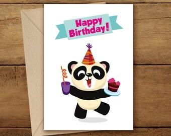 Birthday Card | Panda Woodland | Happy Birthday Panda | Birthday Card | Birthday Party | Woodland Art | Panda Card | Woodland