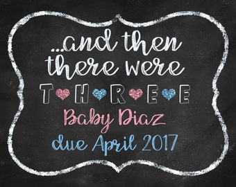And then there were 3 Pregnancy Announcement DIGITAL FILE