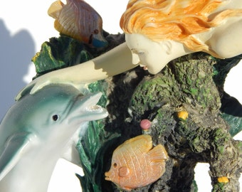 Porcelain Mermaid with Dolphin Under the Sea Mounted C. 1950