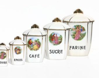Vintage  French Porcelain Limoges Canisters,French Cuisine,kitchenalia.