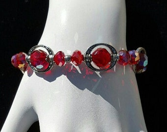 Red Framed Stretch Bracelet