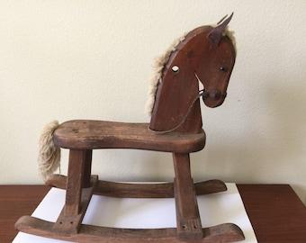 Vintage Toddler Ride-On Rocking Horse...Woods of America Rocking Horse...Shabby Chic Nursery Room Decor..