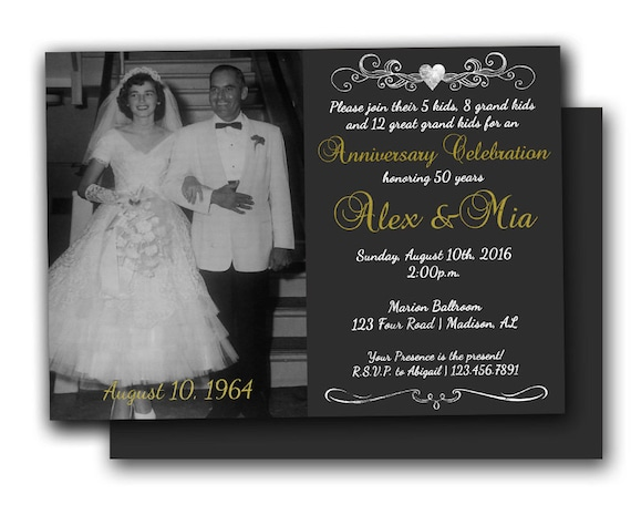 Cheap 50th Wedding Anniversary Invitations: Photo 50th Anniversary Invitations Chalk Golden Wedding