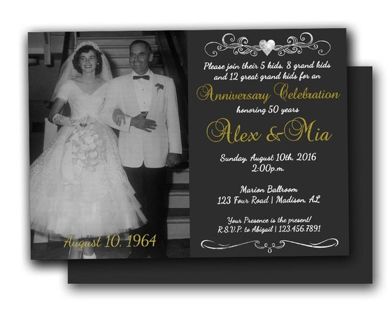 Golden Wedding Anniversary Invitations: Photo 50th Anniversary Invitations Chalk Golden Wedding