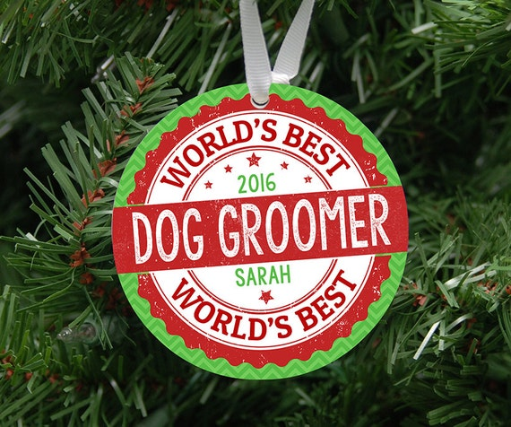 Personalized World's Best Dog Groomer Ornament