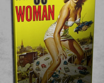"24""×36"" Retro movie poster art strecthed canvas Attack of the 50ft woman / sci fi movie art print"