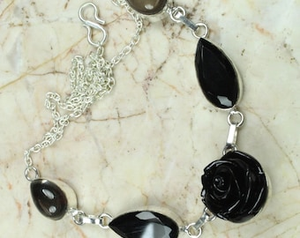 CARVED FLOWER 925 sterling silver  NECKLACE 18 in