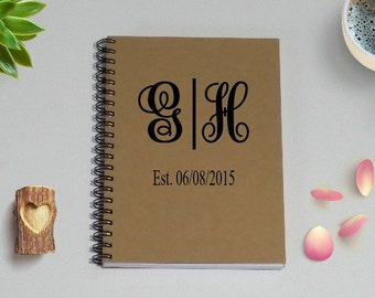 Personalized Journal Notebook, Monogram Initials & Est. Date Notebook - 5 x 7 Journal, Engagement, Wedding Notebook, Couples Diary