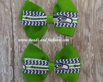 Seahawks chevron sport hair bow set or bow tie 2 styles 4 inches college