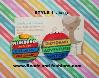 school dictionary teacher cover fabric earrings 2 styles