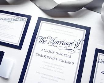 elegant wedding invitations gray wedding invitations navy