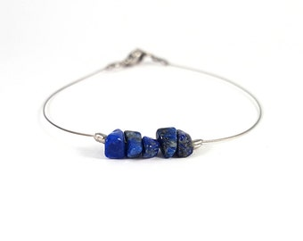Lapis lazuli bracelet, natural gemstone jewelry, silver bracelet minimal, dainty jewelry, lapis lazuli jewelry blue gemstone bracelet shikky
