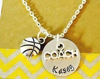 Basketball Necklace, Coach Necklace, Basketball Coach, Hand Stamped Basketball Necklace, Personalized Necklace, Basketball Team