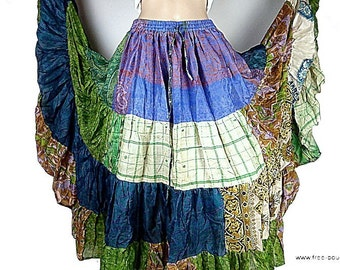 SKIRT wedding FLAMENCO large turquoise Gypsy patchwork Gypsy Bohemian gypsy T34/44 jf159