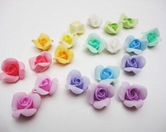 5 PASTEL ROSE CABOCHON, cold porcelain rose, handmade clay rose, tiny rose cabochon, porcelain rose, flower cabochon, handmade clay flower,