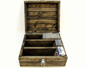 Divided Trading Card Game Storage Box - Rustic Wooden Box with 3 Sections - Large Playing Card Case - Collectible Card Chest - Geek Gift Box