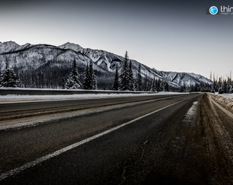 Open Highway British Columbia Canada BC Kootenay Road Canadian Rocky Mountains Rockies Winter Photograph Photo Print - Home Decor Wall Art