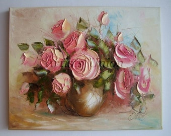 Still Life Pink Roses Original Oil Painting Impasto Shabby chic tone Flower Art Palette Knife Vase Signed LINEN Canvas Stretched Certificate