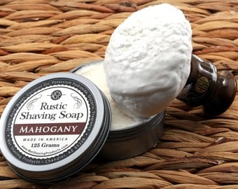 Rustic Men's Shaving Soap (Mahogany) Shaving Cream, Vegan Soap, All Natural Soap, Handmade Soap,  Hot Process Soap