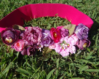 Belt elastic Fuchsia color with fabric flowers