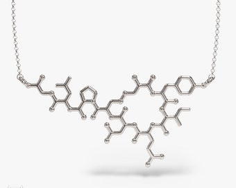 science jewelry: oxytocin silver flat necklace - 3D printed neuropeptide pendant - wearable hormone - PhD - uterus - labor