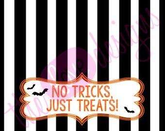 printable no tricks just treats halloween treat bag toppers us 5 00
