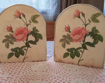 Pair of Gold Bookends with Rose Print made by Arnold Design