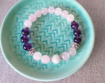 Rose Quartz, Moonstone, Amethyst Fertility Stretch Bracelet, Stackable, TTC Gift, Pregnancy Gift, Infertility, Miscarriage
